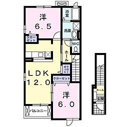愛知県西尾市一色町対米大屋敷の賃貸アパートの間取り
