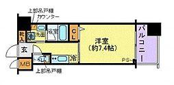 京王線 府中駅 徒歩1分の賃貸マンション 8階1Kの間取り