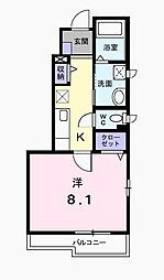 東京都府中市小柳町1丁目の賃貸アパートの間取り