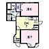 間取り,2DK,面積46.06m2,賃料3.9万円,JR水戸線 宍戸駅 徒歩11分,,茨城県笠間市橋爪