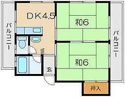 パールハイツB棟[1階]の間取り
