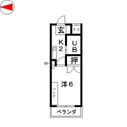 岩井橋ロイヤルハイツ[3階]の間取り