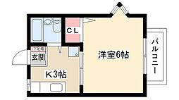 愛知県名古屋市名東区照が丘の賃貸アパートの間取り