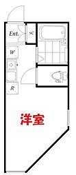 クレールブランシェ西横浜B号棟 1階ワンルームの間取り