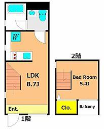 corridor 2階1LDKの間取り