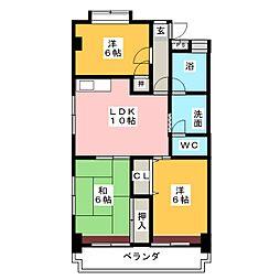 平與マンション[4階]の間取り