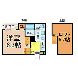 愛知県名古屋市北区山田1丁目の賃貸アパートの間取り