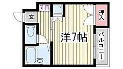 兵庫県神戸市兵庫区荒田町4丁目の賃貸マンションの間取り