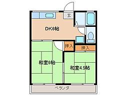 コーポモミヤマ 2階2DKの間取り