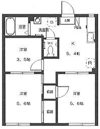 カーササカエ[1階]の間取り