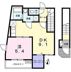 西武新宿線 下井草駅 徒歩4分の賃貸アパート 2階1DKの間取り