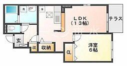 兵庫県小野市黒川町の賃貸アパートの間取り