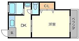 めぐみマンション 4階1DKの間取り