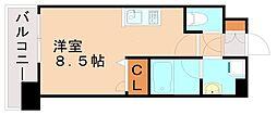 エンクレスト天神LIFE 13階ワンルームの間取り