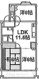 神奈川県相模原市中央区淵野辺本町5丁目の賃貸マンションの間取り