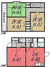 [テラスハウス] 千葉県佐倉市王子台6丁目 の賃貸【/】の間取り