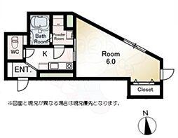 東急世田谷線 西太子堂駅 徒歩10分の賃貸マンション 3階1Kの間取り