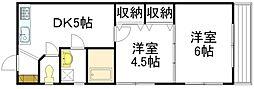 広島県広島市中区中島町の賃貸マンションの間取り