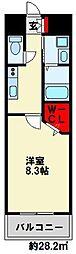 ギャラン竪町Neo 13階1Kの間取り