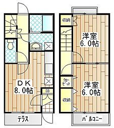 [テラスハウス] 神奈川県厚木市飯山 の賃貸【神奈川県 / 厚木市】の間取り
