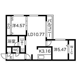 札幌市電2系統 西線11条駅 徒歩7分の賃貸マンション 4階2LDKの間取り