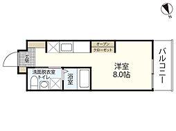 JR山陽本線 広島駅 徒歩23分の賃貸マンション 4階ワンルームの間取り