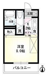 ヴェラハイツ井土ヶ谷A[2階]の間取り