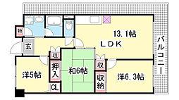 サイコート鈴蘭台[9階]の間取り
