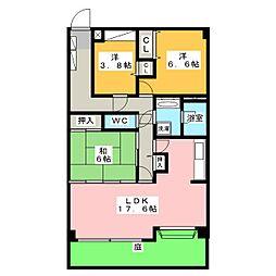元宮町スカイマンション[1階]の間取り
