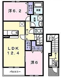 東京都昭島市緑町2丁目の賃貸アパートの間取り