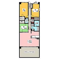 プラウド昭和楽園町テラス[2階]の間取り