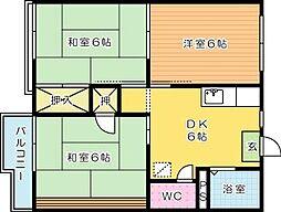 福岡県北九州市小倉北区黒原3丁目の賃貸アパートの間取り