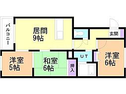 ロイヤル東苗穂IV 4階3LDKの間取り