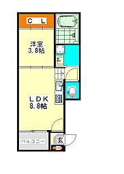 ハーモニーテラス愛知町II(ハーモニーテラスアイチチョウツー[3階]の間取り