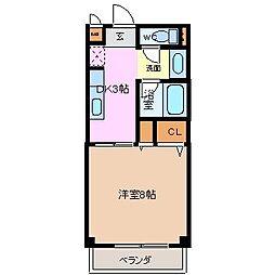 クレールフジ[1階]の間取り