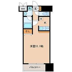 仙台市営南北線 北四番丁駅 徒歩7分の賃貸マンション 7階ワンルームの間取り