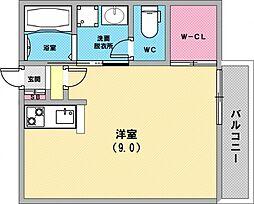 ルミエール西代A棟 1階ワンルームの間取り