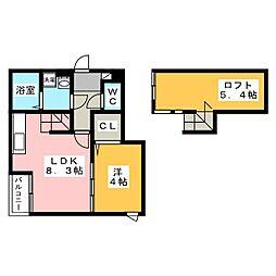 パサージュ箱崎[2階]の間取り