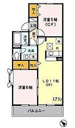 埼玉県さいたま市桜区大久保領家の賃貸アパートの間取り