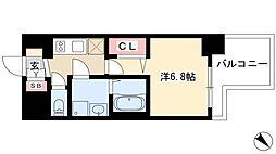 プレサンス錦プレミアム 4階1Kの間取り