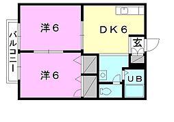 フレグランス竹田[B-102 号室号室]の間取り