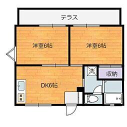 静岡県静岡市駿河区丸子4丁目の賃貸アパートの間取り
