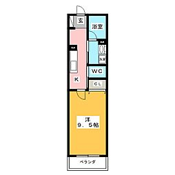 シャーメゾン・ガーレ 1階1Kの間取り