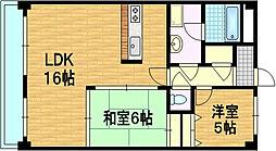 京都府京都市伏見区石田桜木の賃貸マンションの間取り
