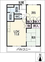 愛知県小牧市外堀2丁目の賃貸アパートの間取り