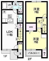 [テラスハウス] 栃木県下野市仁良川 の賃貸【/】の間取り
