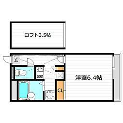 JR片町線(学研都市線) 放出駅 徒歩7分の賃貸マンション 2階1Kの間取り