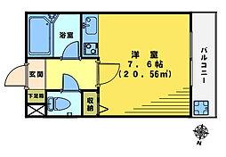 クインズ二階堂[3階]の間取り