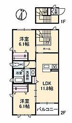 山口県下関市新椋野1丁目の賃貸アパートの間取り