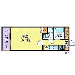 JR中央本線 国分寺駅 徒歩5分の賃貸マンション 5階1Kの間取り